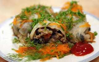 Пісні голубці з рисом і грибами, з гречкою, з овочами, рецепти, відео