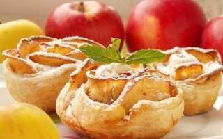 Печені яблучні троянди з листкового тіста. Покроковий рецепт з фото