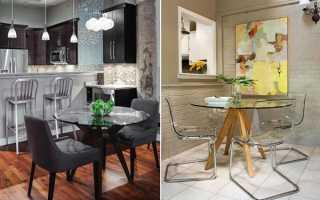 Скляні столи для кухні — вибір форм і ніжок, моделі, відео