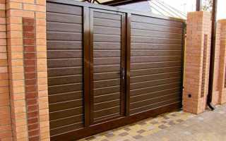 Відкатні ворота з хвірткою всередині, фото металевих конструкцій, відео