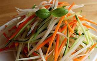 Салат з дайкона — рецепти приготування з морквою, яблуком, огірком, м'ясом, фото, відео