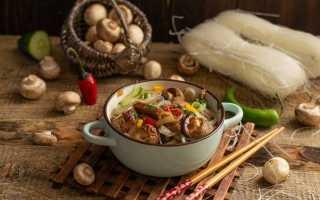 Теплий салат з фунчозой, яловичиною і грибами. Покроковий рецепт з фото