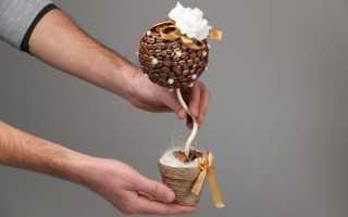 Як зробити топиарий своїми руками, дерево з зерен кави, відео