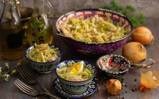 Пікантний салат «Узбекистан» з м'ясом і зеленою редькою. Покроковий рецепт з фото